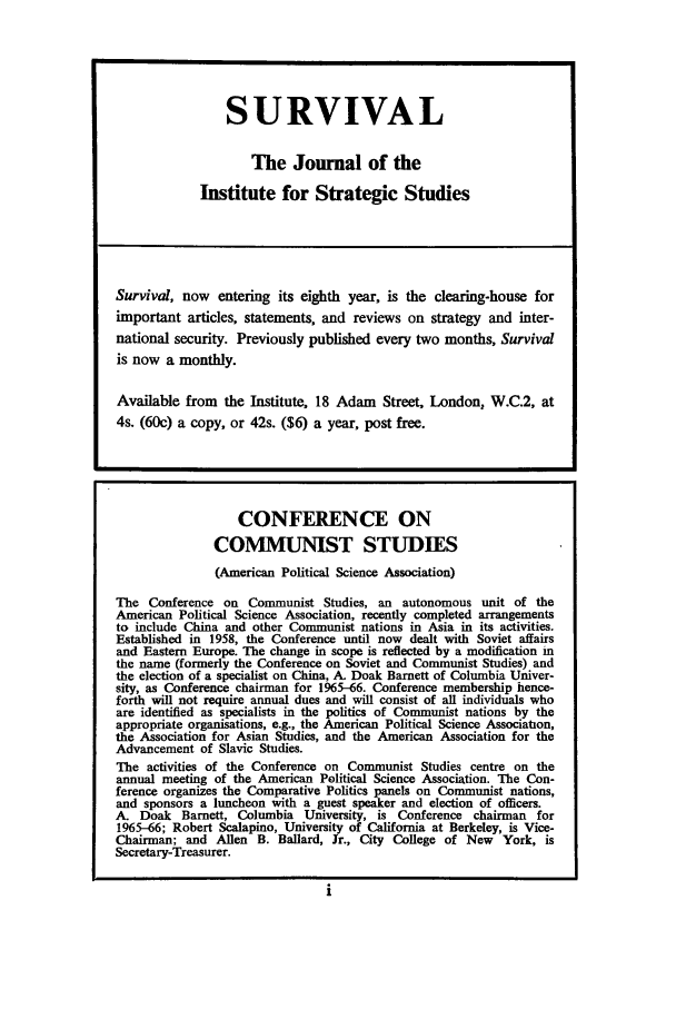 handle is hein.journals/chnaquar7 and id is 1 raw text is: SURVIVAL