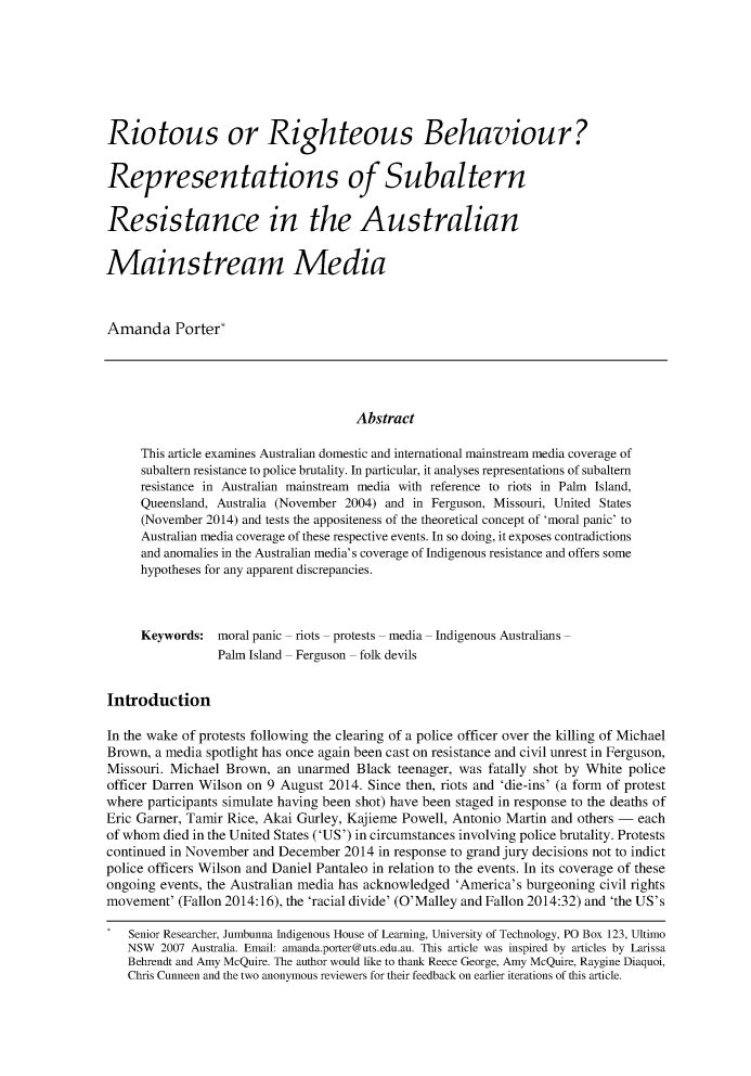 handle is hein.journals/cicj26 and id is 320 raw text is: Riotous or Righteous Behaviour?