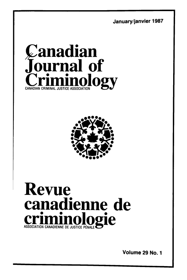 handle is hein.journals/cjccj29 and id is 1 raw text is: January/janvier 1987