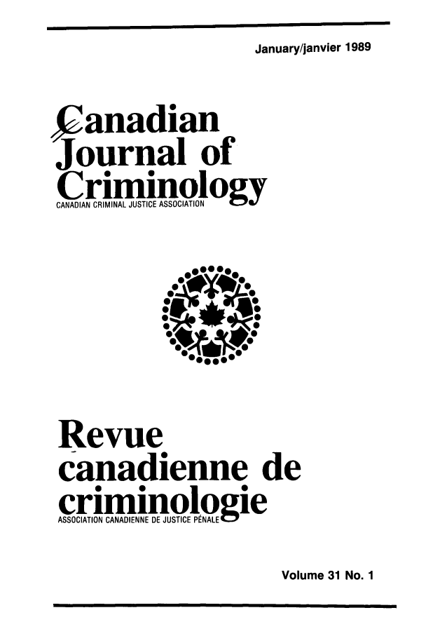 handle is hein.journals/cjccj31 and id is 1 raw text is: January/janvier 1989