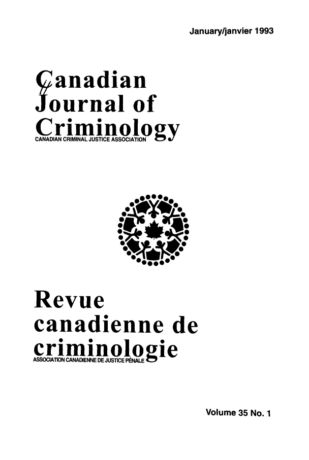 handle is hein.journals/cjccj35 and id is 1 raw text is: January/janvier 1993