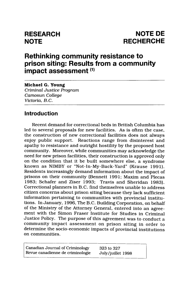 handle is hein.journals/cjccj40 and id is 326 raw text is: RESEARCH                                     NOTE DE