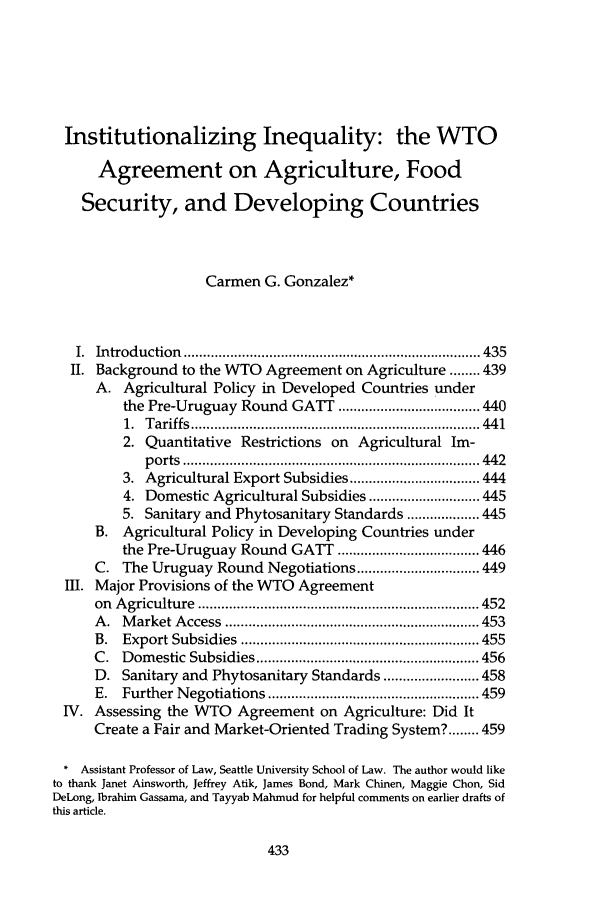 Institutionalizing Inequality The Wto Agreement On Agriculture