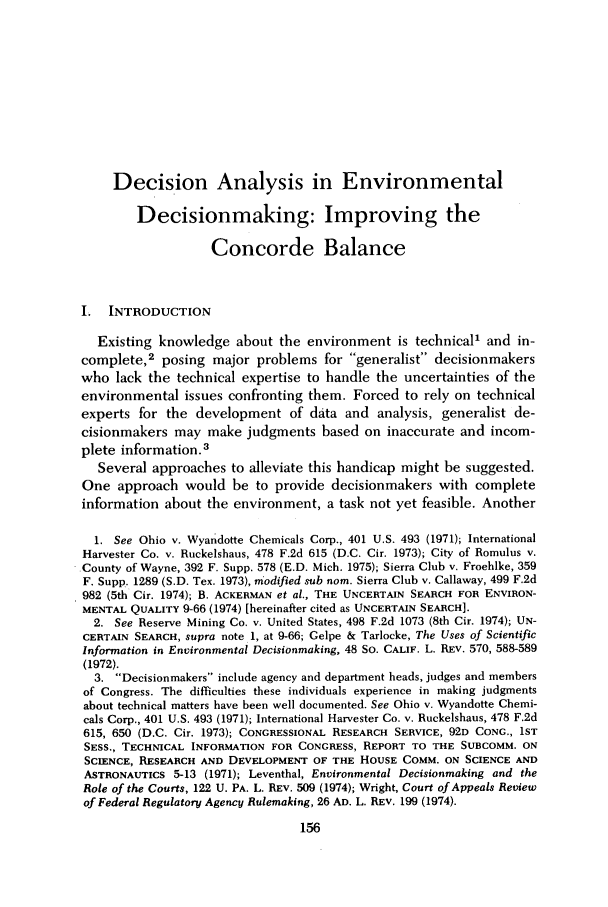 handle is hein.journals/cjel5 and id is 162 raw text is: Decision Analysis in Environmental