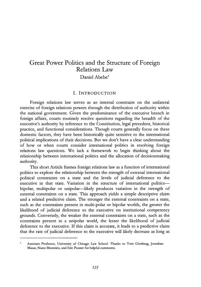 handle is hein.journals/cjil10 and id is 127 raw text is: Great Power Politics and the Structure of Foreign