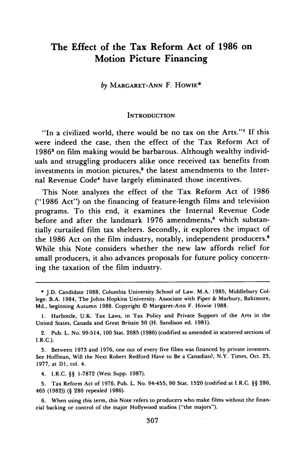 handle is hein.journals/cjla12 and id is 319 raw text is: The Effect of the Tax Reform Act of 1986 on