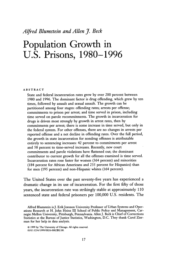 handle is hein.journals/cjrr26 and id is 23 raw text is: Alfred Blumstein and Allen J. Beck