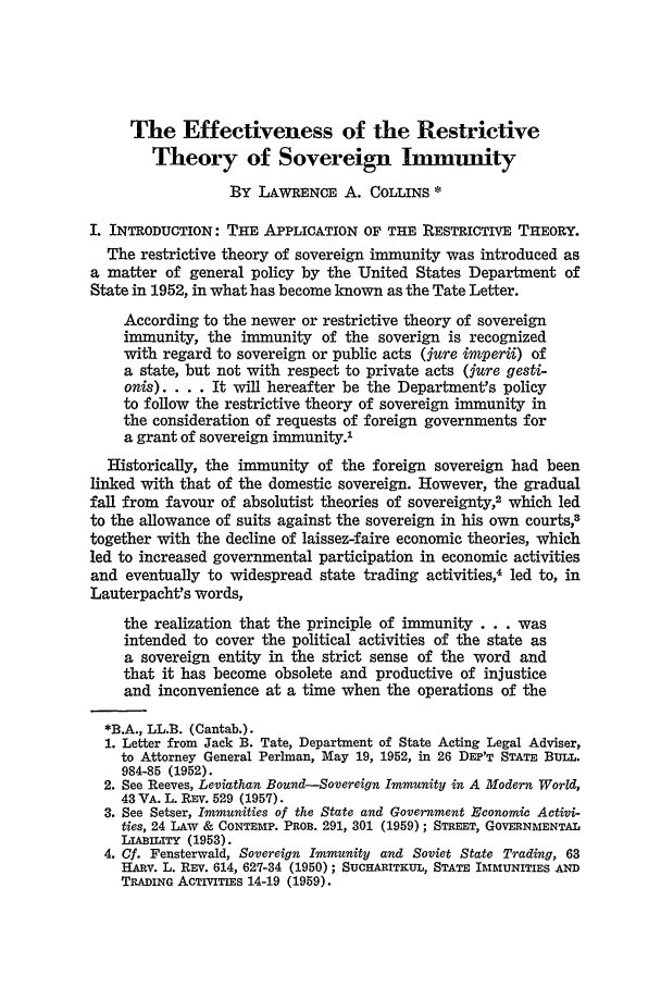 handle is hein.journals/cjtl4 and id is 121 raw text is: The Effectiveness of the Restrictive