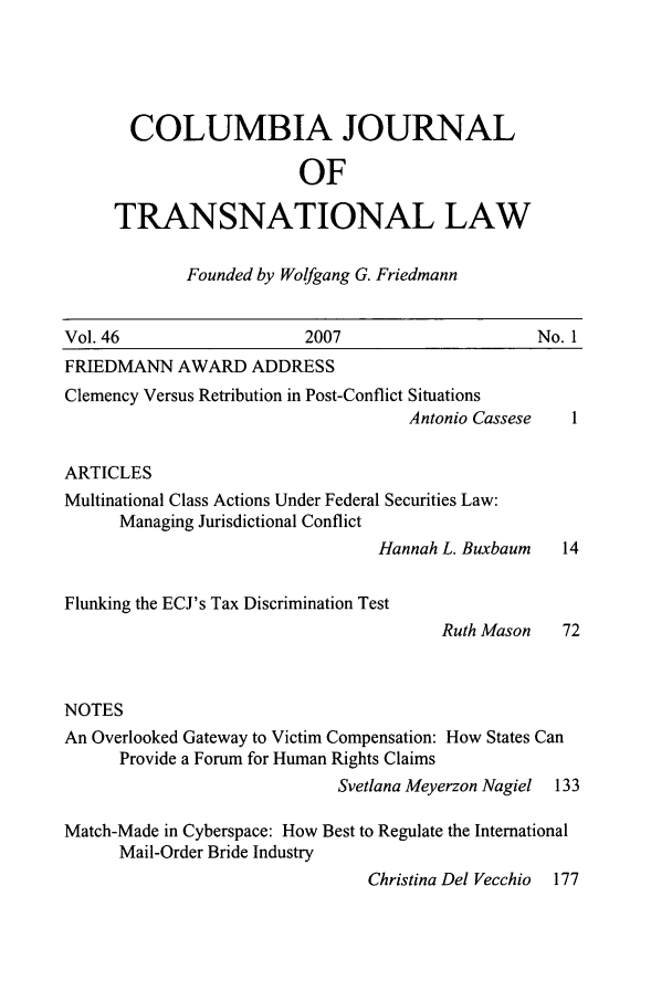 handle is hein.journals/cjtl46 and id is 1 raw text is: COLUMBIA JOURNAL