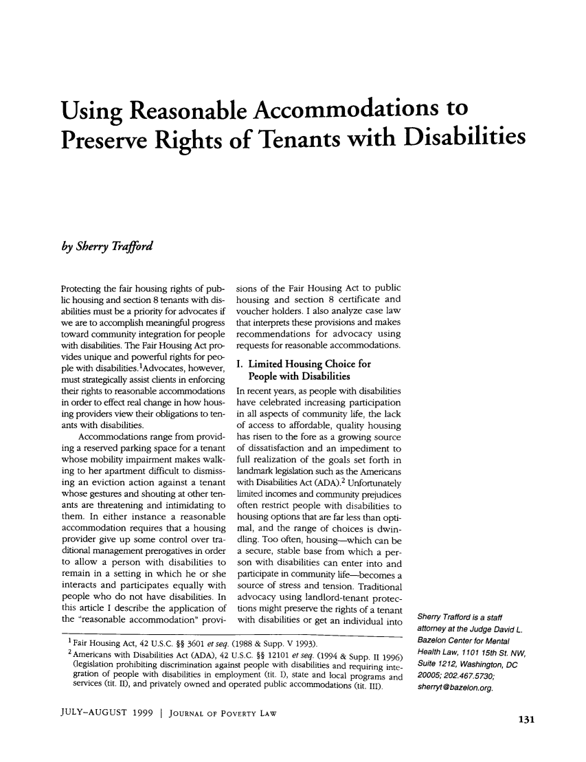 Using Reasonable Accommodations to Preserve Rights to ...