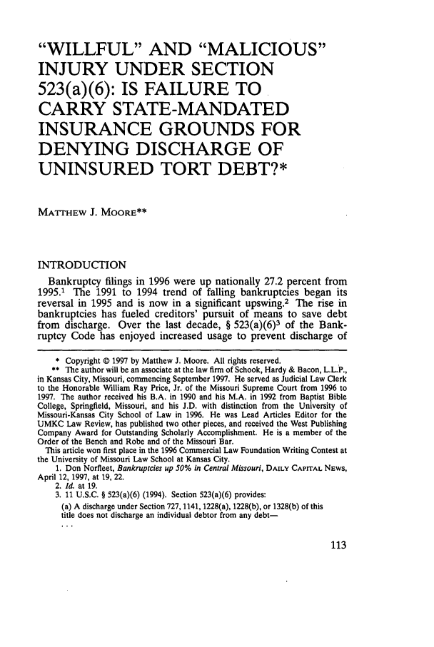Willful and Malicious Injury under Section 523(a)(6): Is ...