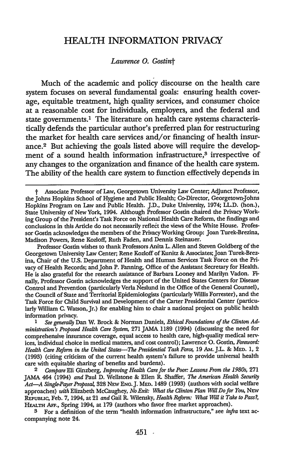Health Information Privacy 80 Cornell Law Review 1994 1995