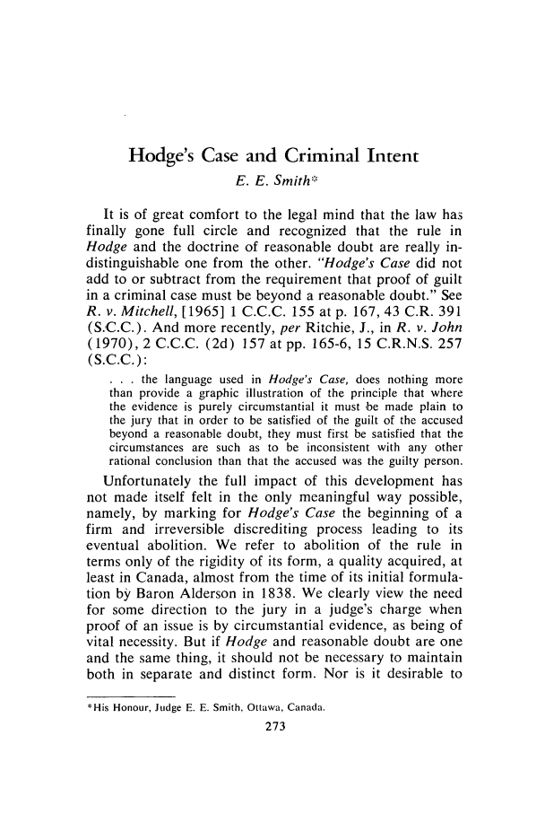 handle is hein.journals/clwqrty17 and id is 287 raw text is: Hodge's Case and Criminal Intent