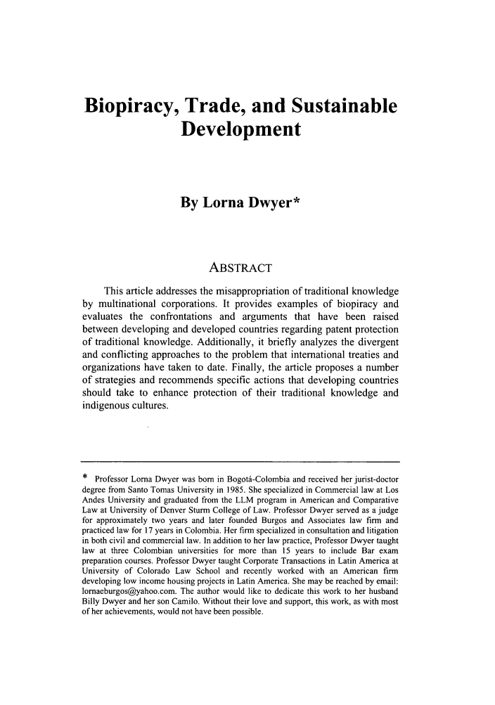 Biopiracy Trade And Sustainable Development 19 Colorado Journal Of