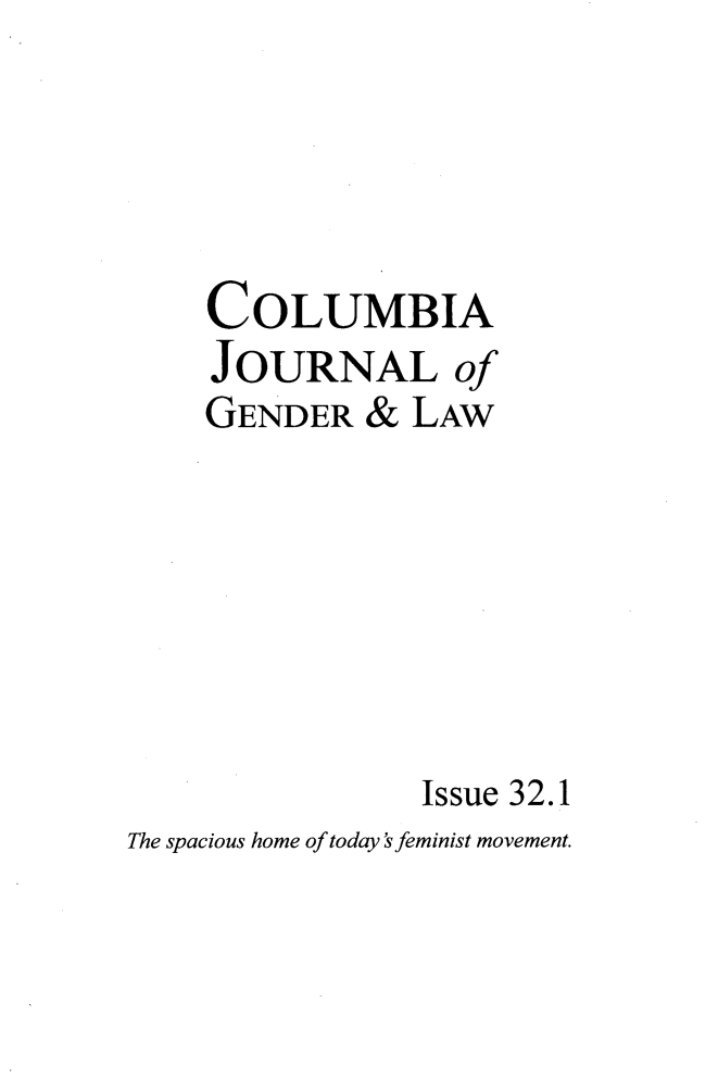handle is hein.journals/coljgl32 and id is 1 raw text is: 
