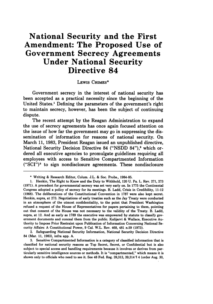 handle is hein.journals/collsp19 and id is 219 raw text is: National Security and the First
