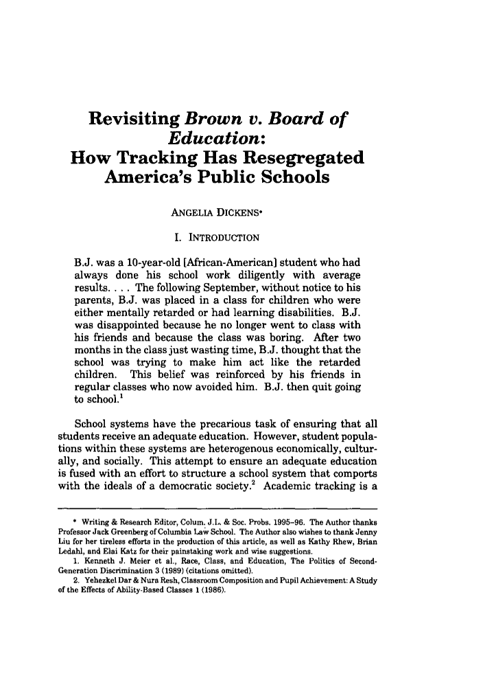 handle is hein.journals/collsp29 and id is 479 raw text is: Revisiting Brown v. Board of