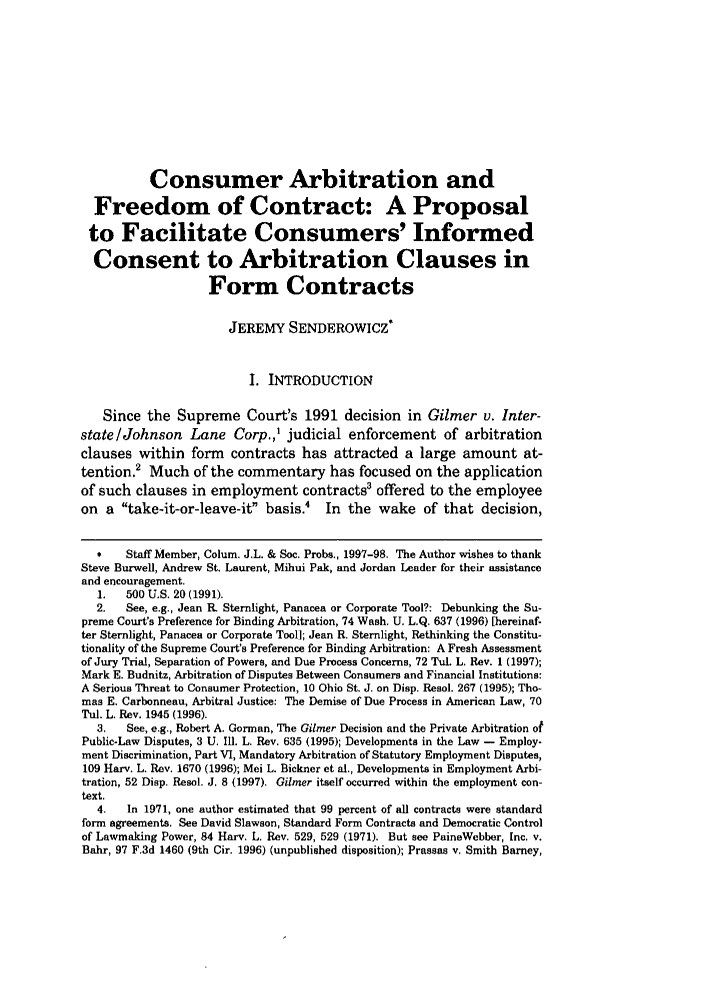 Consumer Arbitration And Freedom Of Contract A Proposal To