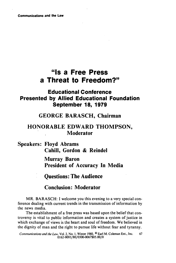 handle is hein.journals/coml2 and id is 71 raw text is: Communications and the Law