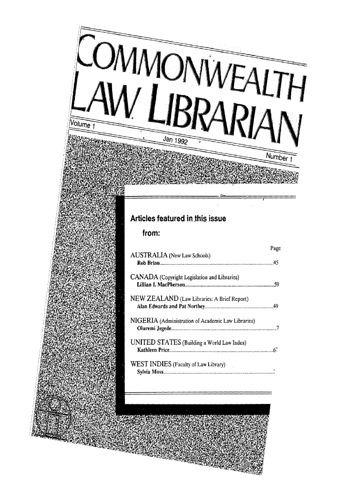 handle is hein.journals/comlalib1 and id is 1 raw text is: Articles featured in-this issue