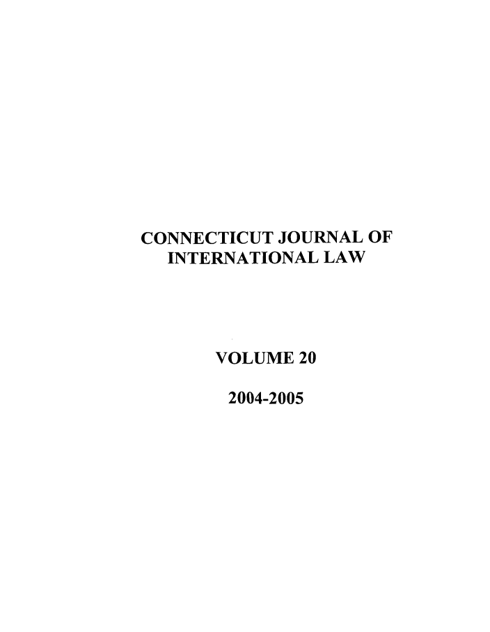 handle is hein.journals/conjil20 and id is 1 raw text is: CONNECTICUT JOURNAL OF