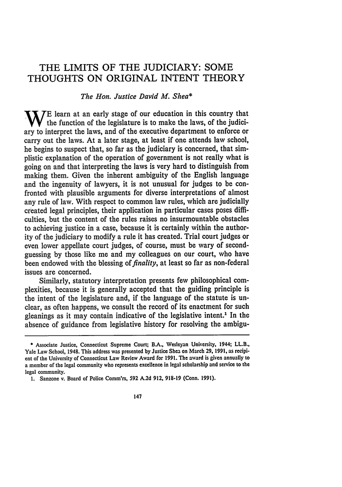 handle is hein.journals/conlr24 and id is 167 raw text is: THE LIMITS OF THE JUDICIARY: SOME