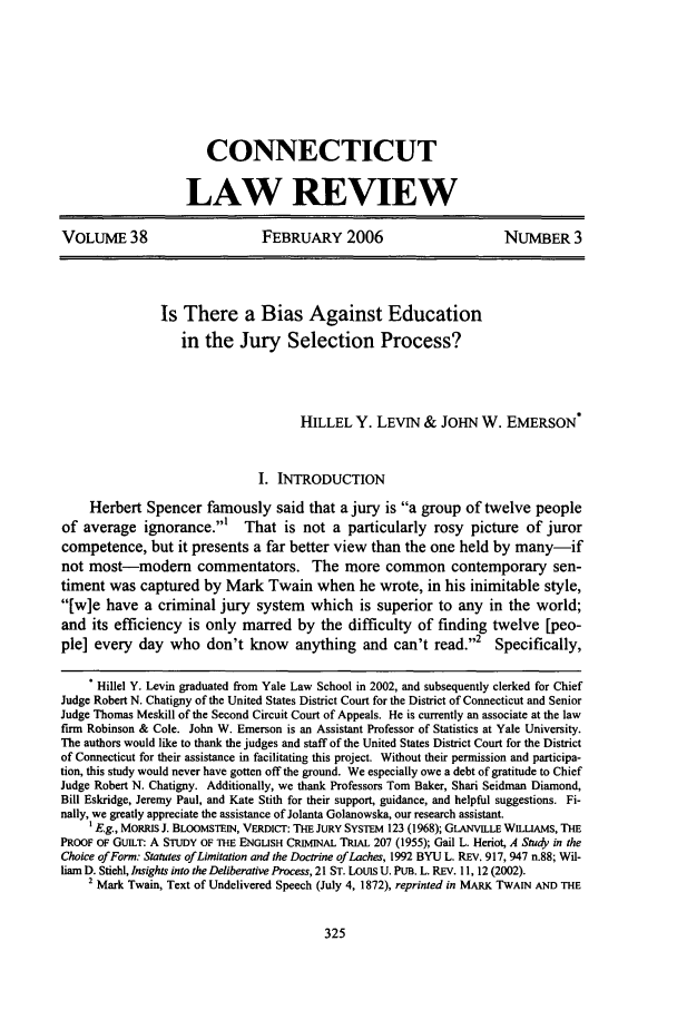 handle is hein.journals/conlr38 and id is 335 raw text is: CONNECTICUT