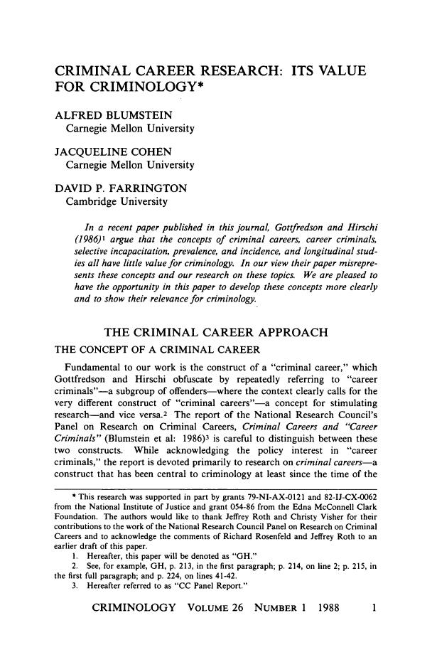 Criminal Career Research Its Value For Criminology 26 Criminology 1988