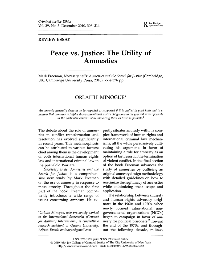 Peace Vs Justice The Utility Of Amnesties Review Essay  Criminal  Handle Is Heinjournalscrimjeth And Id Is  Raw Text Is Criminal Essay With Thesis also Writing Service Cheap  Synthesis Essay Prompt