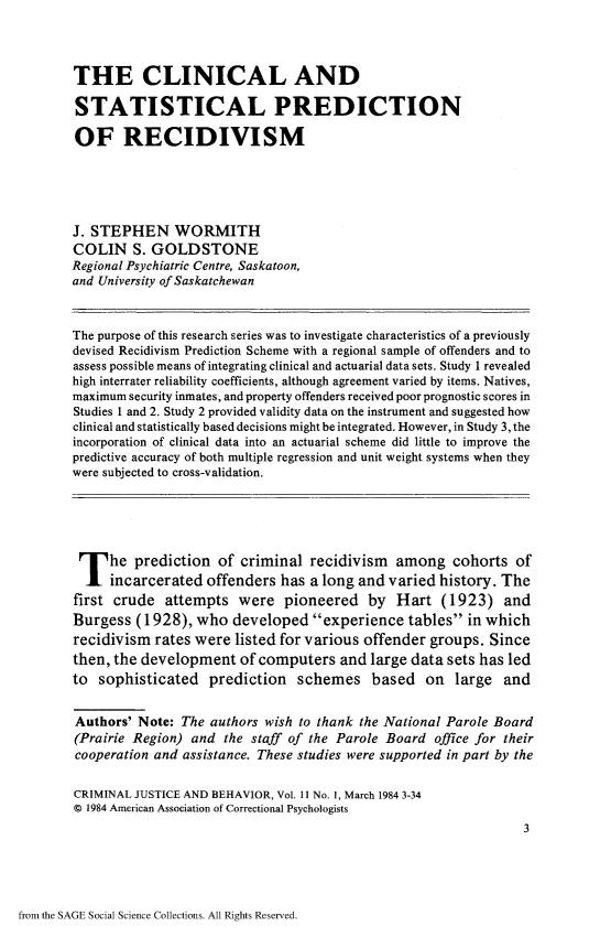 Criminal Justice and Behavior V  11
