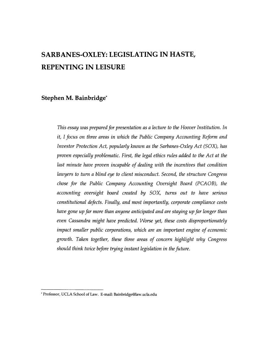 Sarbanes Oxley Legislating In Haste Repenting In Leisure 2
