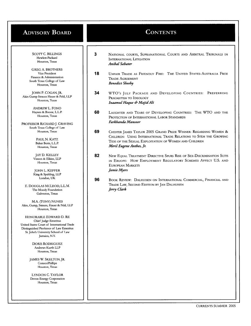 Currents: International Trade Law Journal V  14