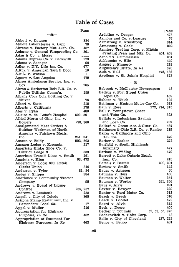 Table of Cases Index to Volume 9 9 Western Reserve Law