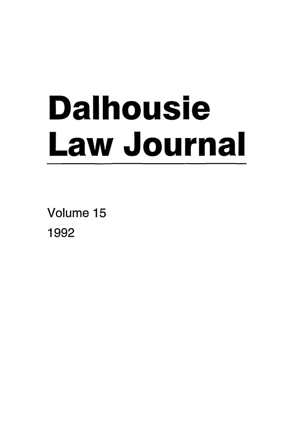 handle is hein.journals/dalholwj15 and id is 1 raw text is: Dalhousie