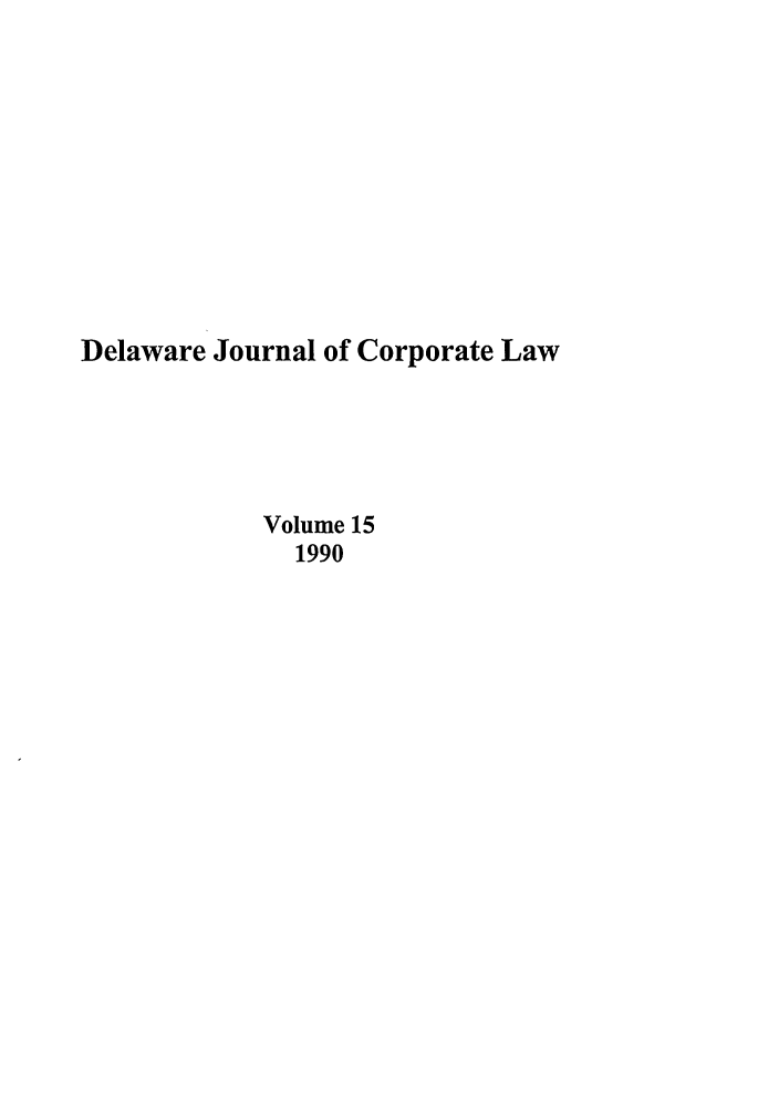 handle is hein.journals/decor15 and id is 1 raw text is: Delaware Journal of Corporate Law