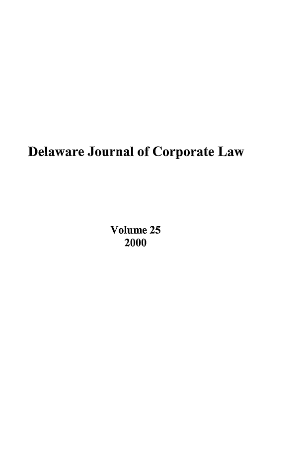 handle is hein.journals/decor25 and id is 1 raw text is: Delaware Journal of Corporate Law