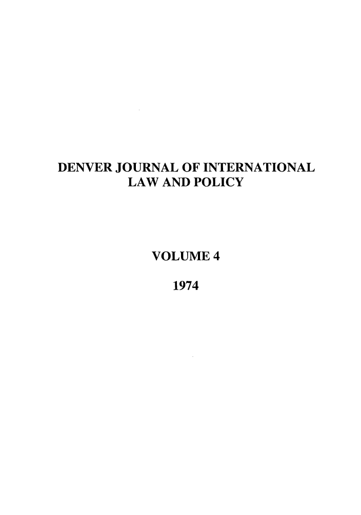 handle is hein.journals/denilp4 and id is 1 raw text is: DENVER JOURNAL OF INTERNATIONAL