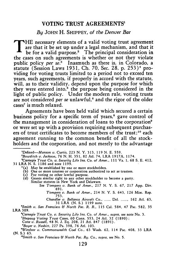 Voting Trust Agreements 12 Dicta 1934 1935