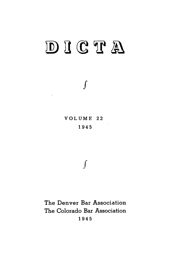 handle is hein.journals/denlr22 and id is 1 raw text is: f