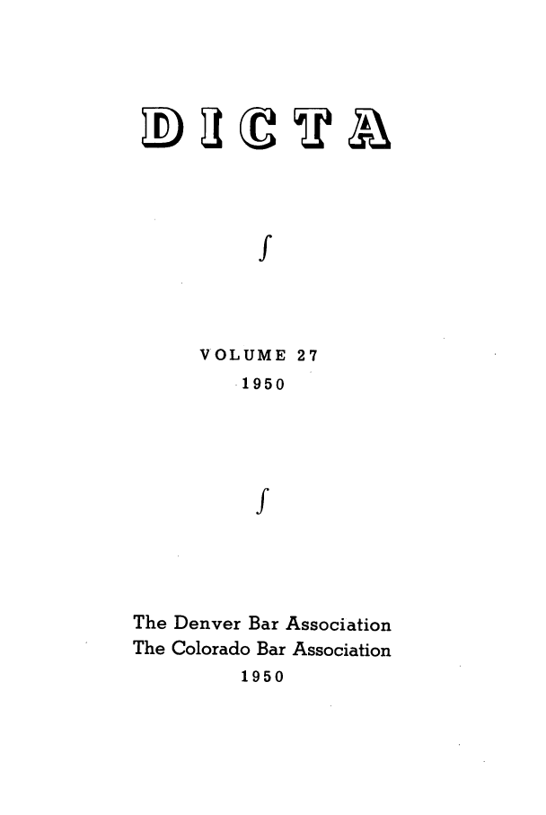 handle is hein.journals/denlr27 and id is 1 raw text is: f