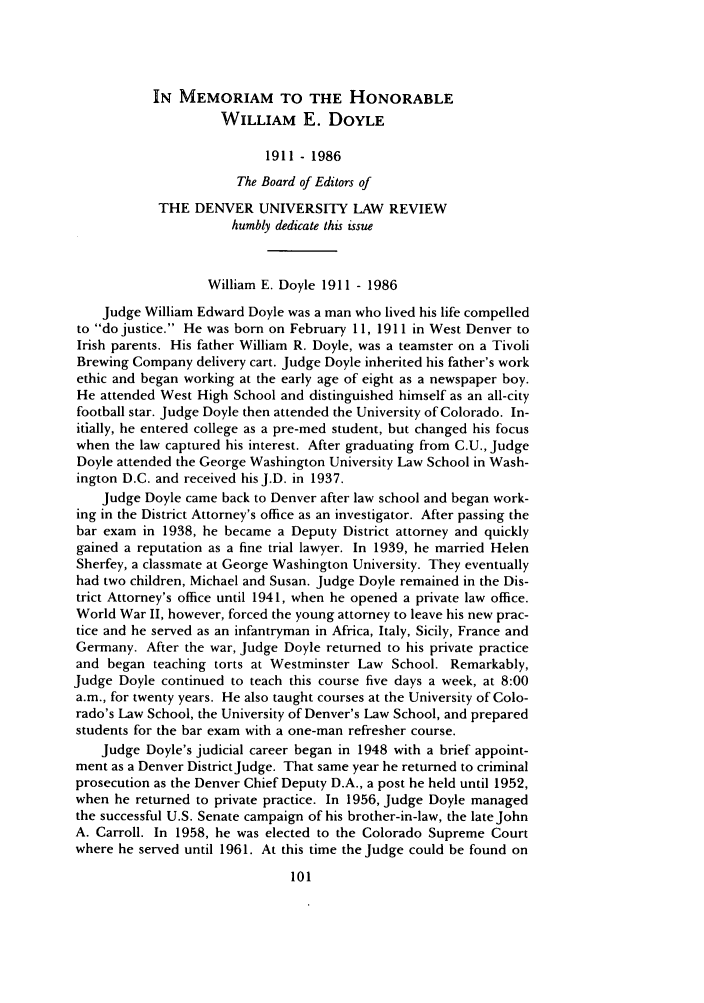 handle is hein.journals/denlr64 and id is 129 raw text is: IN MEMORIAM TO THE HONORABLE