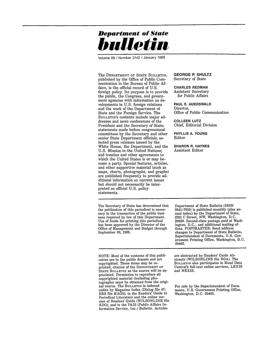 Department of State Bulletin V  89