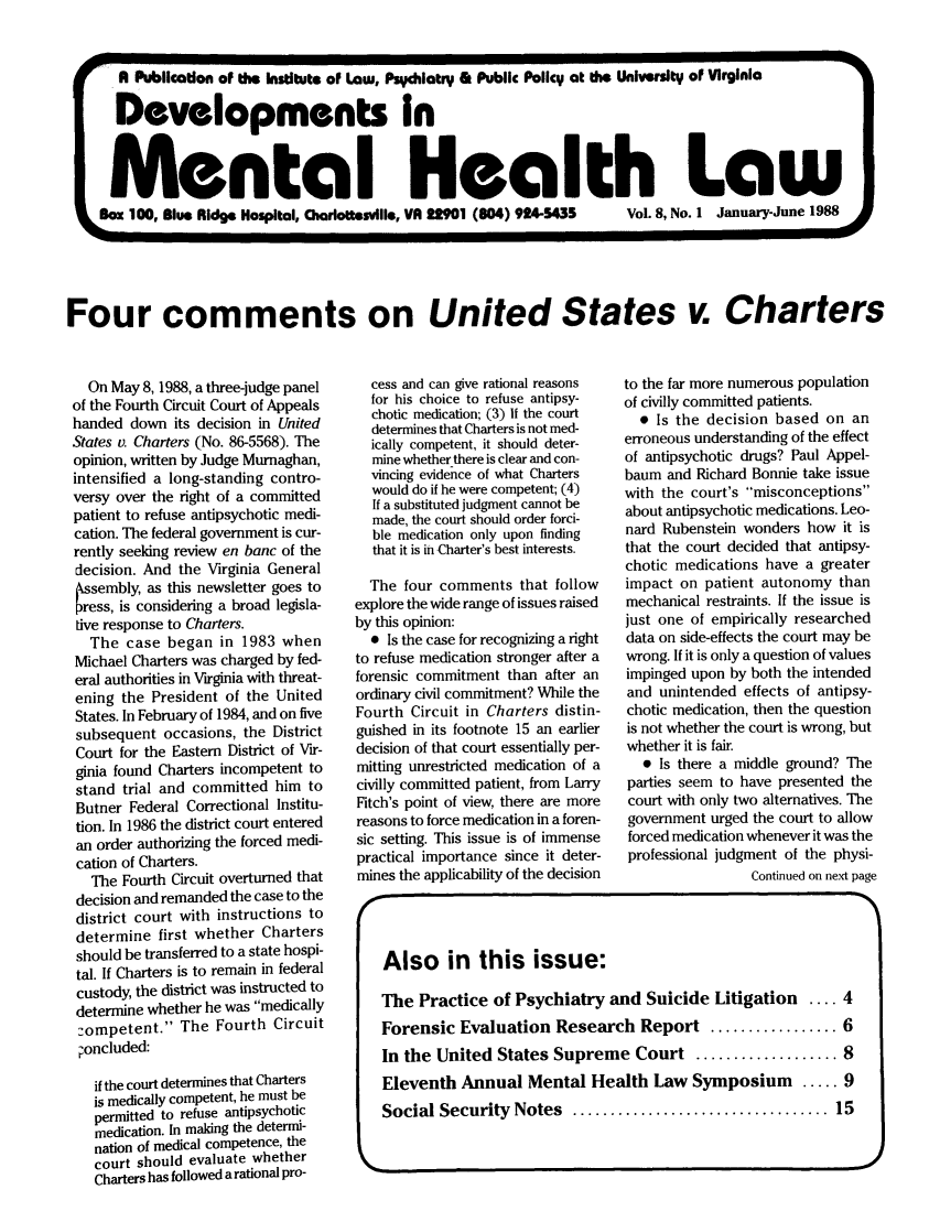 handle is hein.journals/dvmnhlt8 and id is 1 raw text is: A Publication of the Institute of Law, Psychiatry & Public Policy at tie University of Virginia