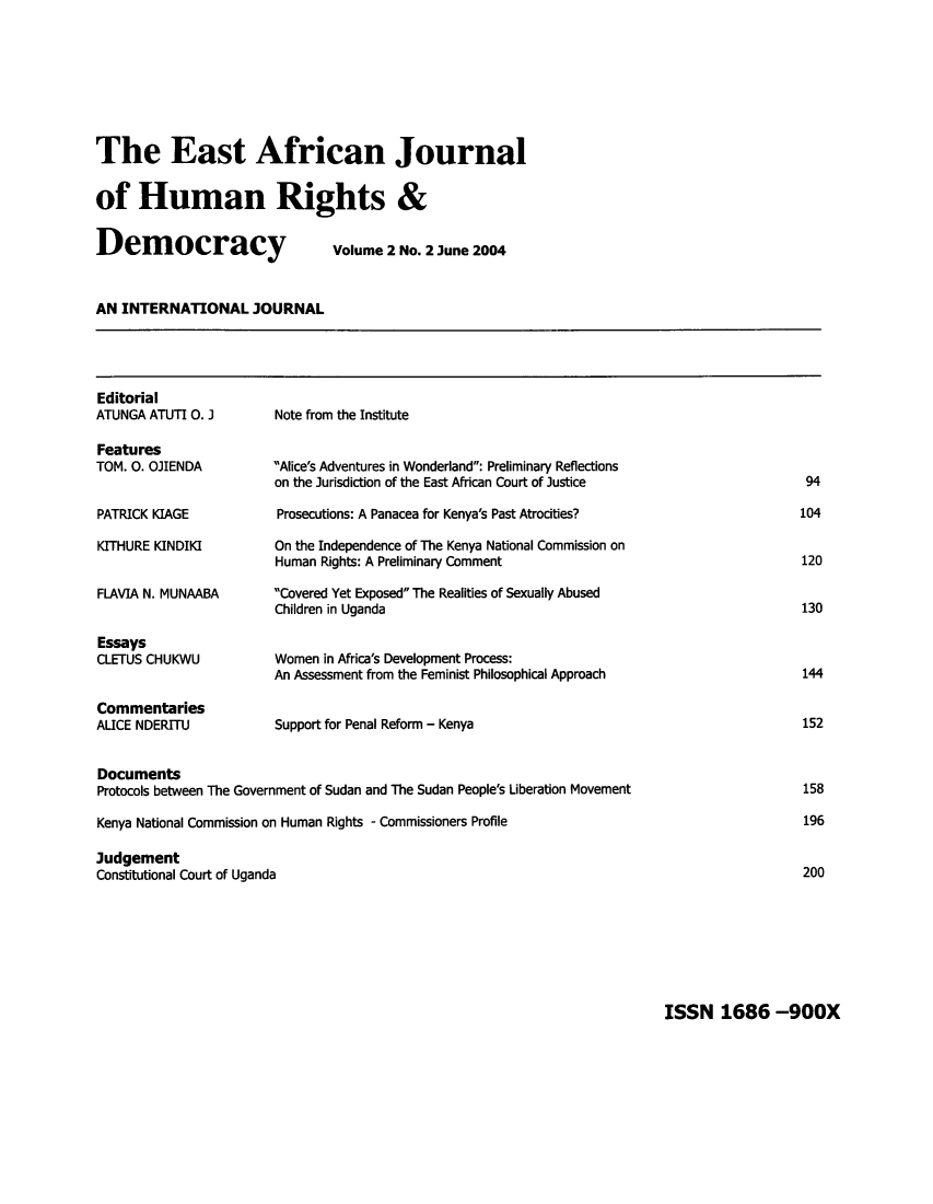 handle is hein.journals/eajhrd2 and id is 100 raw text is: The East African Journal
