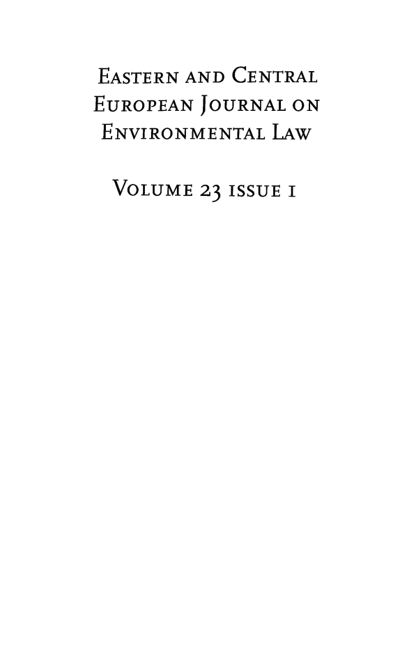 handle is hein.journals/eceujevl23 and id is 1 raw text is: 