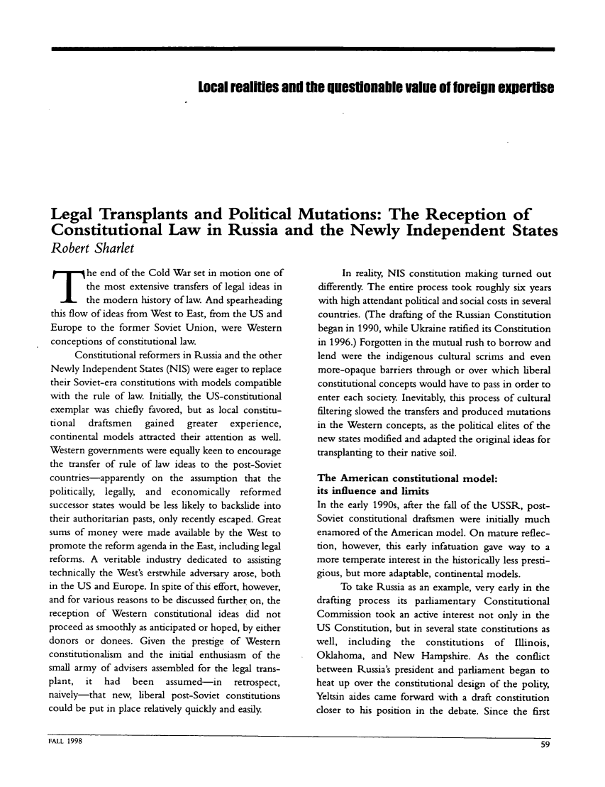 handle is hein.journals/eeurcr7 and id is 335 raw text is: Local reallies and Me questionable value of foreign expertise