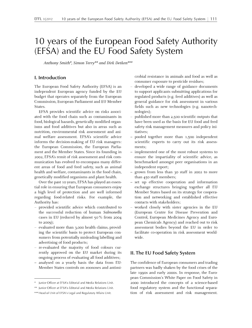 10 Years Of The European Food Safety Authority Efsa And The Eu