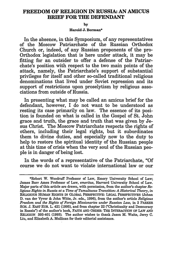 handle is hein.journals/emint12 and id is 323 raw text is: FREEDOM OF RELIGION IN RUSSIA: AN AMICUS