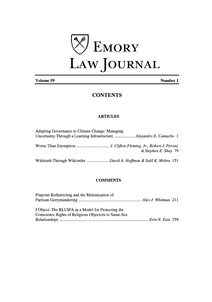 handle is hein.journals/emlj59 and id is 1 raw text is: EMORY