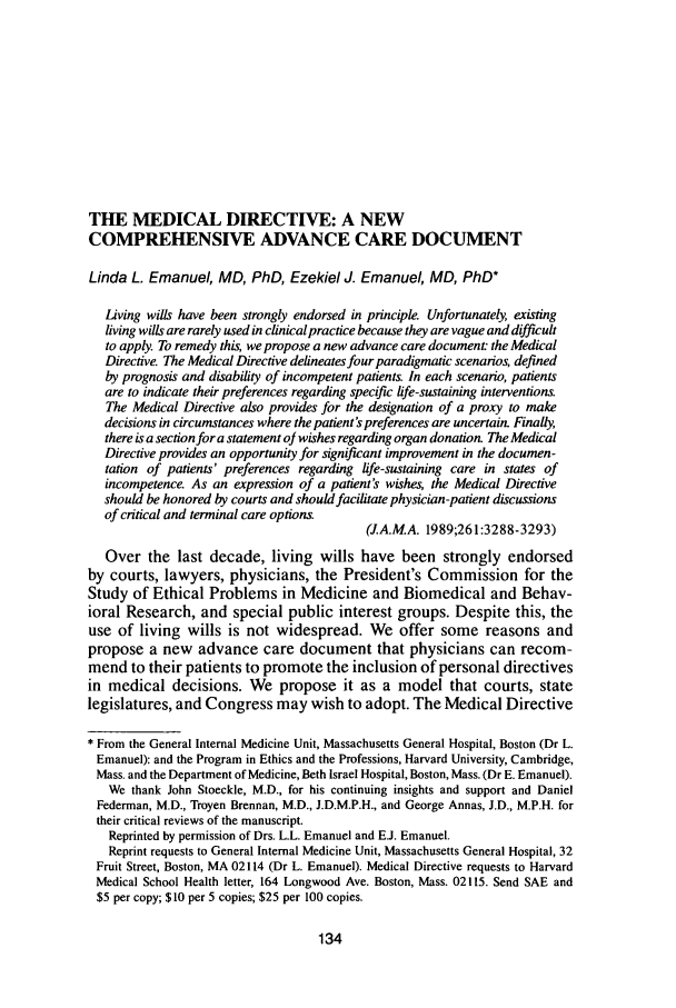 The Medical Directive A New Comprehensive Advance Care